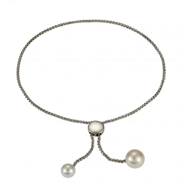 Perlenarmband Süßwasser weiss Tropfen verstellbar Silber rhodiniert 24 cm