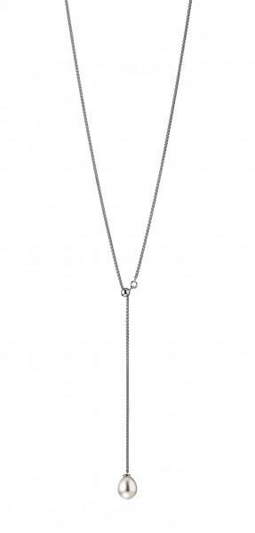 Perlenkette Y-Collier Süßwasser weiss Tropfen 9-10 mm verstellbar Silber 65cm