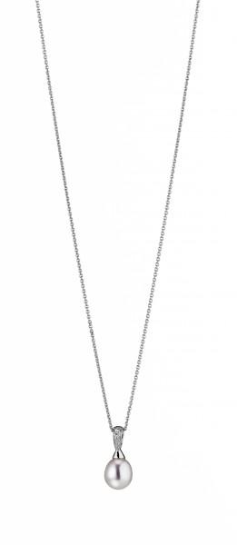 Perlenkette Anhänger Süßwasser Tropfen 8-9 mm Zirkonia Ankerkette 50 cm