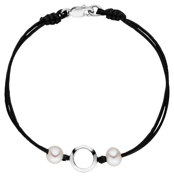 Perlenarmband zweireihig schwarz Süßwasser 6-7 mm