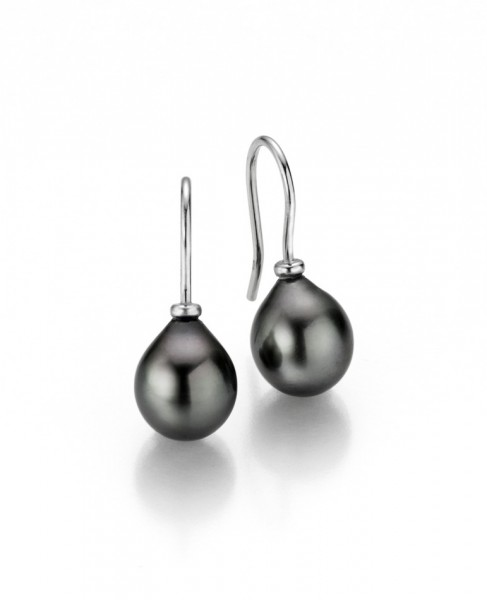 Perlenohrringe Haken Tahiti Tropfen 9-10 mm Silber rhodiniert