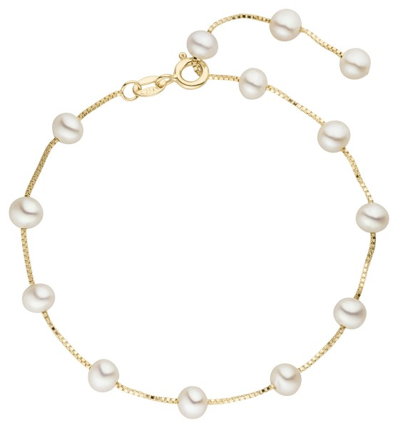 Perlenarmband Silber vergoldet Süßwasser 5-6 mm