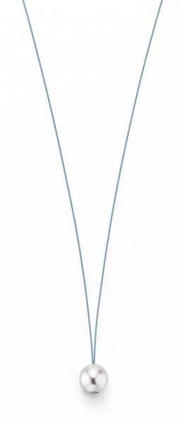Perlenkette Süßwasser weiss 10-11 mm Edelstahl-Seil türkis ca. 78 cm