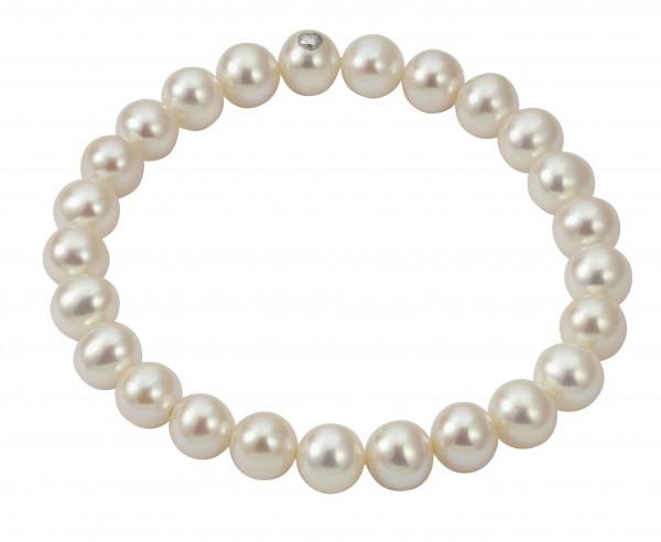 Perlenarmband Süßwasser rund weiss 7-8 mm 1-reihig elastisch 19 cm