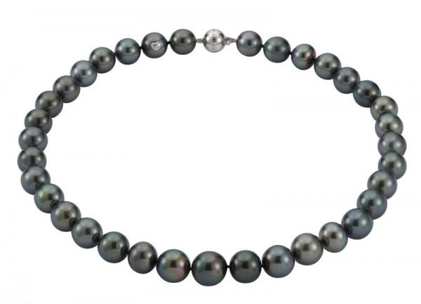 Perlenkette Tahiti 10-12 mm Kugelschließe Weißgold 14 Karat 45 cm
