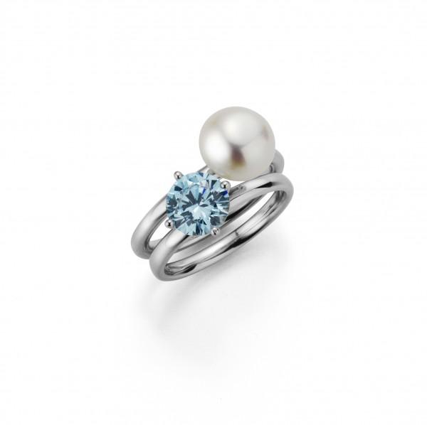 Perlenring Damenring 2-teilig Süßwasser 9-10 mm Zirkonia türkis Silber rhodiniert