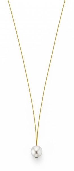 Perlenkette Süßwasser weiss 10-11 mm Edelstahl-Seil gold ca. 78 cm