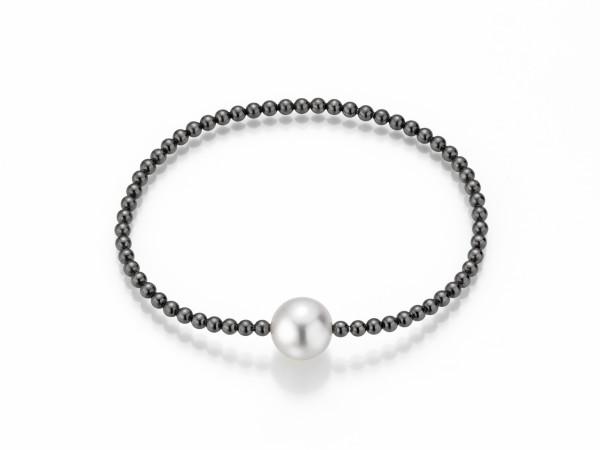Perlenarmband Süßwasser weiss 9-11 mm Kugelkette Silber geschwärzt 19 cm