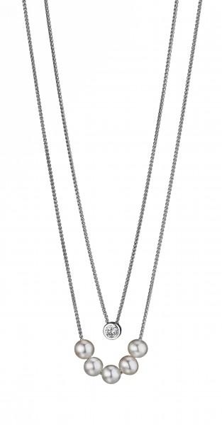 Perlenkette 2-teilig Süßwasser weiss rund 7-7,5 mm Zirkonia verstellbar Silber 45 cm