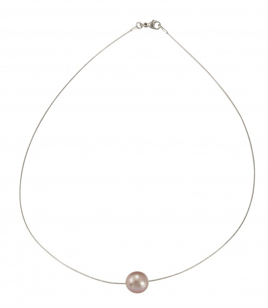 Perlenhalsreif Süßwasser natur 10-11 mm Omegareif Silber rhodiniert 43 cm