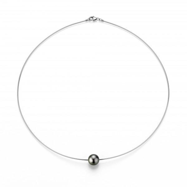 Perlenhalsreif Tahiti schwarz rund 8-10 mm Silber rhodiniert 43 cm