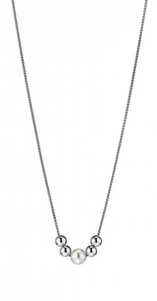 Perlenkette Y-Collier Süßwasser weiss rund und Kugeln verstellbar Silber 76 cm