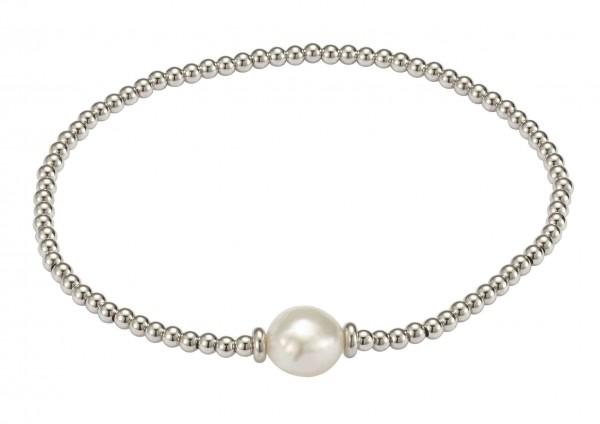 Perlenarmband Süßwasser barock und Kugeln Silber