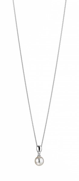 Perlenkette Anhänger Süßwasser weiss rund 7-8 mm Ankerkette 50 cm Silber rhodiniert
