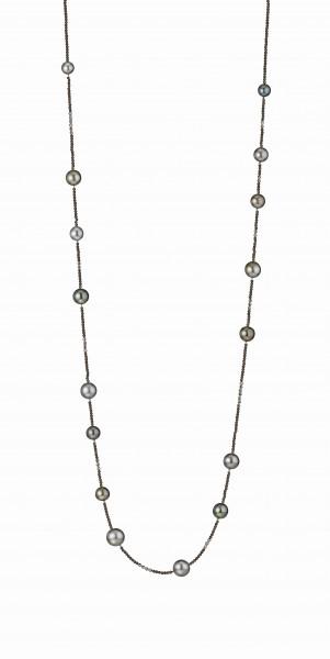Perlenkette Tahiti multi 8-12 mm braunes Spinell Silber 100 cm