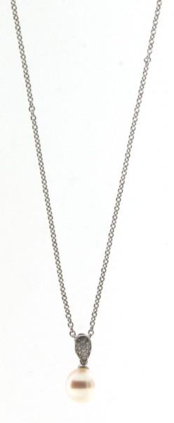 Perlenkette Anhänger Süßwasser weiss und Zirkonia Ankerkette Silber 50 cm