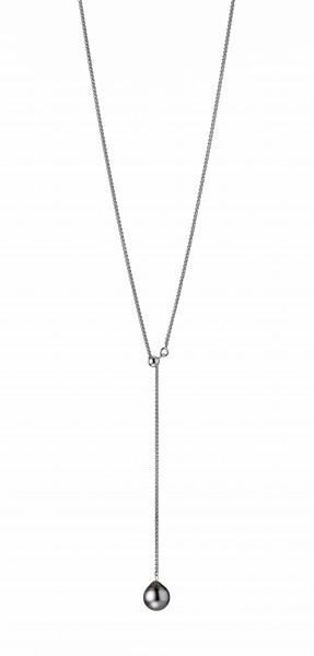 Perlenkette Tahiti schwarz Tropfen 9-10 mm Silber Zopfkette 52 cm Y-Kette