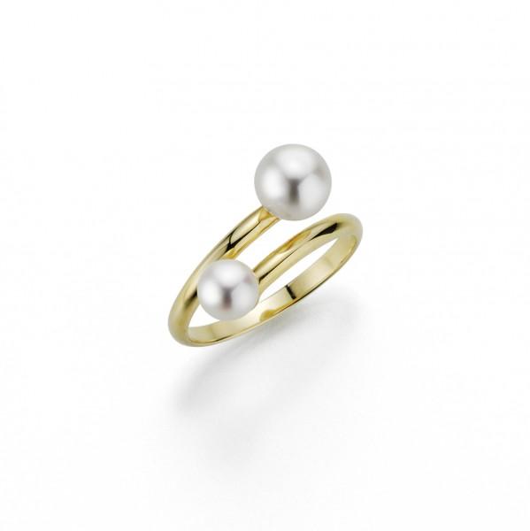 Perlenring Damenring Süßwasser weiss rund Silber gelb vergoldet