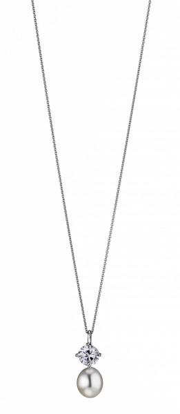 Perlenkette mit Anhänger Süßwasser weiss Tropfen Zirkonia Silber rhodiniert 45 cm