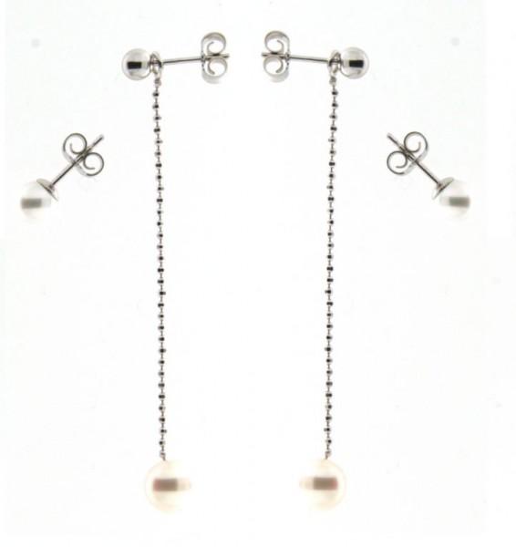 Perlenohrschmuck im Set 4- teilig Süßwasser Kugel Silber
