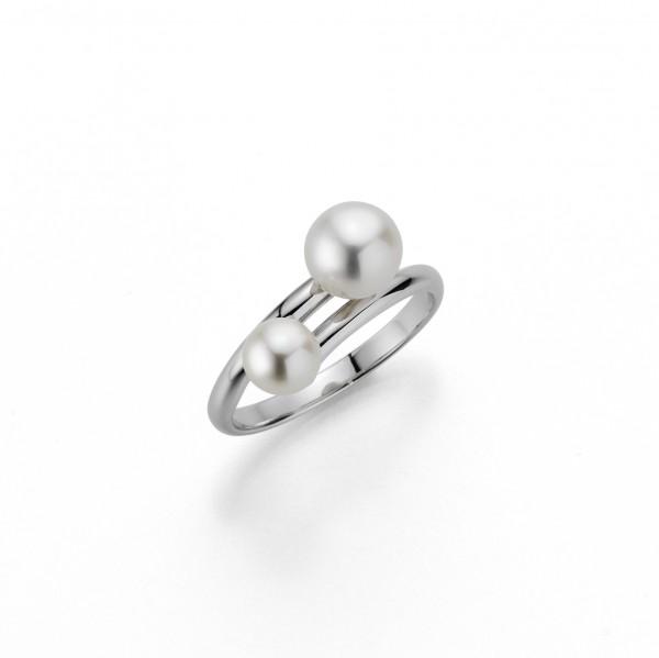 Perlenring Damenring Süßwasser weiss rund Silber rhodiniert