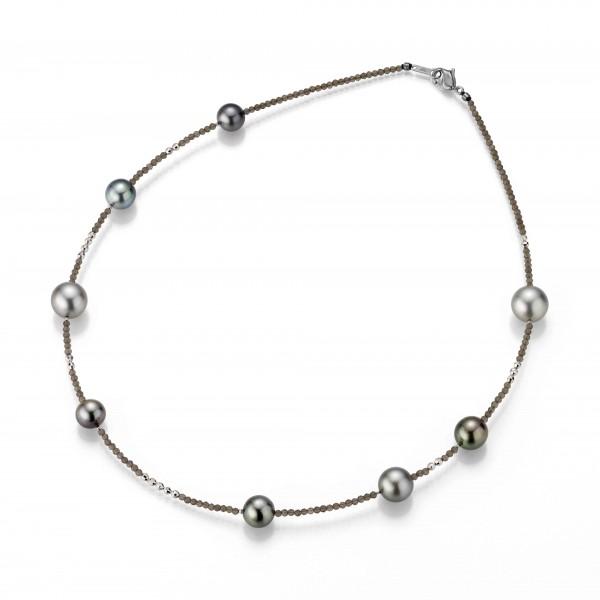 Perlenkette Tahiti multi 8-12 mm braunes Spinell Silber 45 cm
