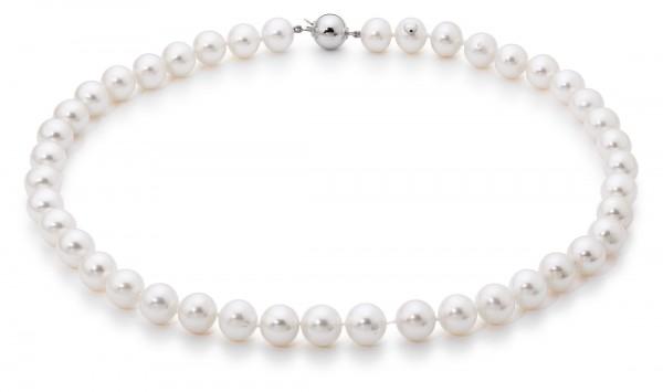 Perlenkette Süßwasser weiß rund 10-11 mm Weißgold 14 Karat 45 cm