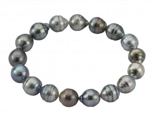 Perlenarmband Tahiti multicolor barock 8-10 mm elastisch 19 cm