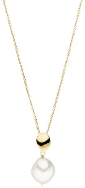 Perlenkette mit Anhänger Süßwasser 13-14 mm vergoldet