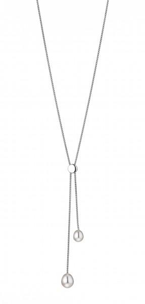Perlenkette Y-Collier Süßwasser weiss Tropfen verstellbar Silber rhodiniert 75 cm