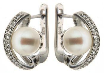Perlenohrstecker Clip Süßwasser weiss button 7-8 mm Zirkona Silber rhodiniert