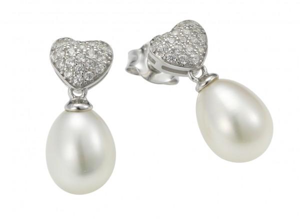 Perlenohrstecker Süßwasser Tropfen und Zirkonia Herz Silber