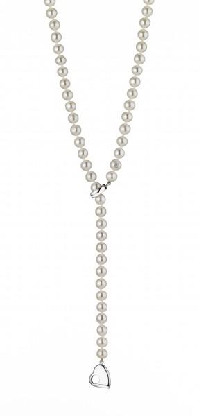 Perlenkette Süßwasser 6-7 mm Herz Silber 60 cm