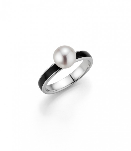 Perlenring Damenring Süßwasser weiss rund 7-8 mm schwarzer Lack Silber