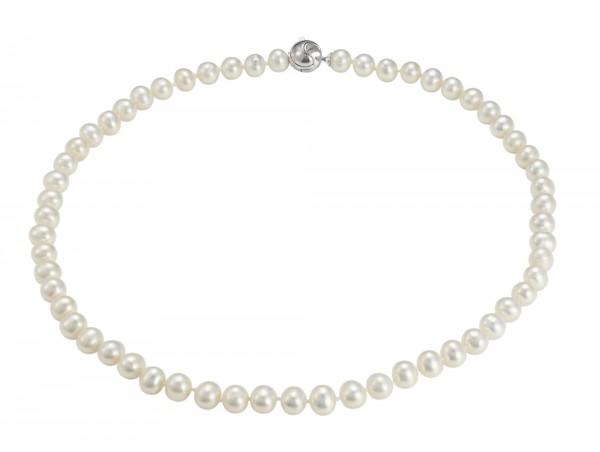 Perlenkette Süßwasser 7-8 mm Kugelkarabiner Silber 45 cm