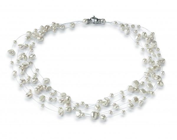 Perlenkette Süßwasser weiss 7-reihig aus Nylon Karabiner Silber rhodiniert