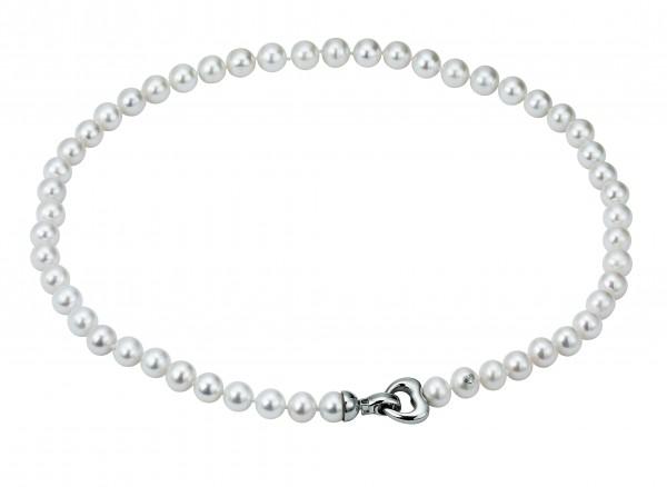 Perlenkette Süßwasser 7-8 mm Herz Silber 45 cm