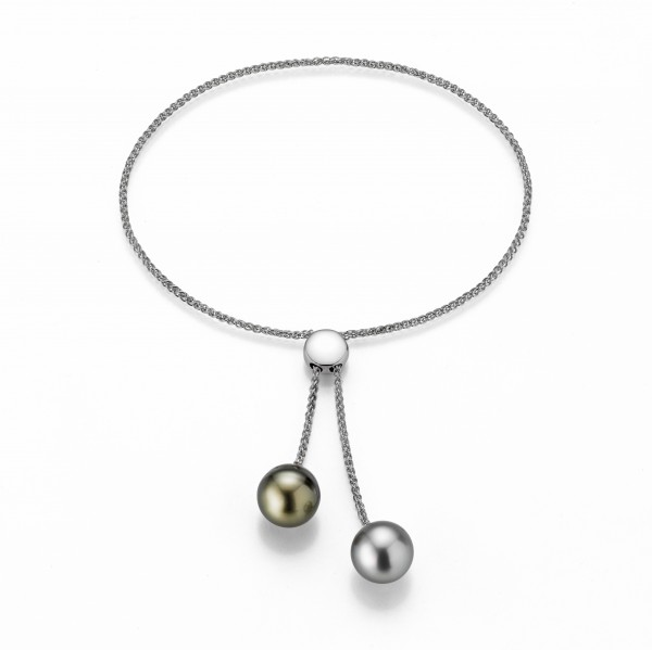 Perlenarmband Tahiti schwarz 9-10 mm silbergrau 9-10 Tropfen verstellbar