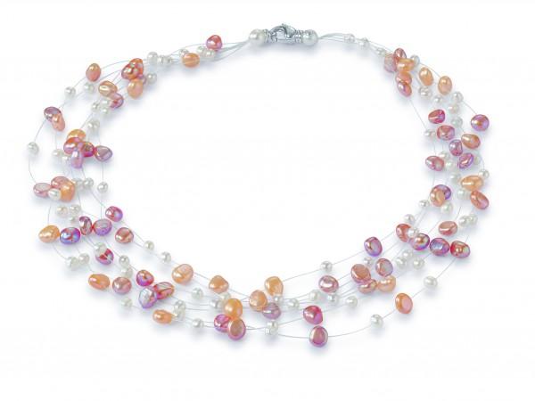 Perlenkette Süßwasser multicolor 7-reihig Nylon ca. 45 cm Silber
