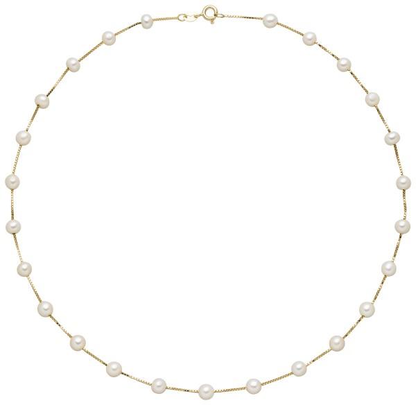 Perlenkette Silber vergoldet Süßwasser 5-6 mm
