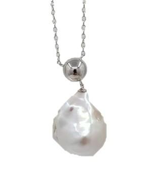 Perlenkette mit Anhänger Süßwasser 14-15 mm