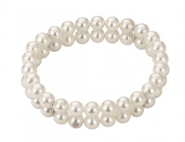 Perlenarmband Süßwasser rund weiß 2-reihig mit Stegen elastisch Silber 19 cm
