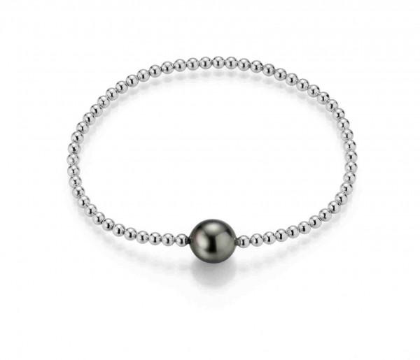 Perlenarmband Tahiti schwarz rund 9-11 mm Kugelkette flexibel Silber rhodiniert