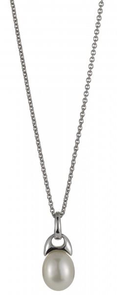 Perlenkette mit Anhänger Süßwasser weiss rice Ankerkette Silber rhodiniert 50 cm