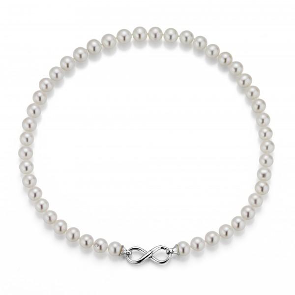 Perlenkette Süßwasser weiss 9-10 mm Infinity-Schließe Silber 45 cm