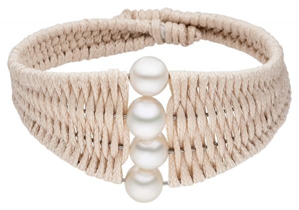 Perlenarmspange beige Süßwasser 8-9 mm