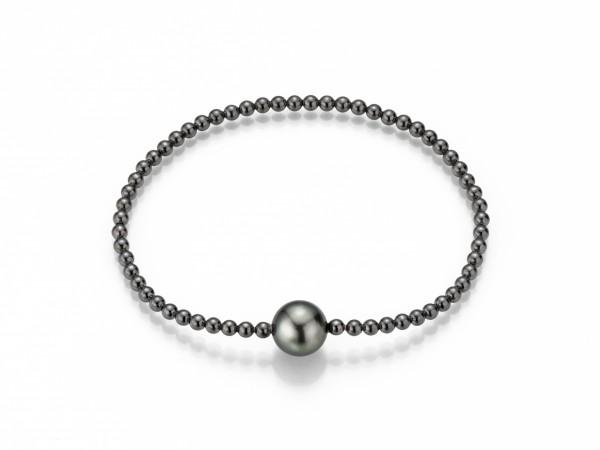 Perlenarmband Tahiti schwarz rund 9-11 mm Kugelkette flexibel Silber geschwärzt