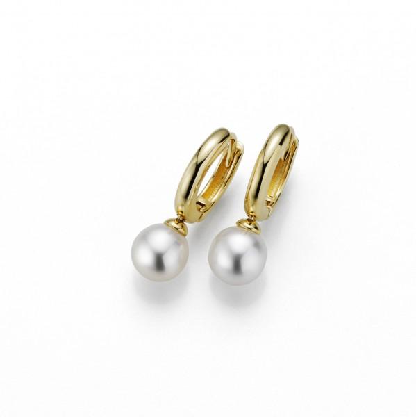 Perlenohrringe Creolen Süßwasser weiss rund 7-8 mm Silber gelb vergoldet